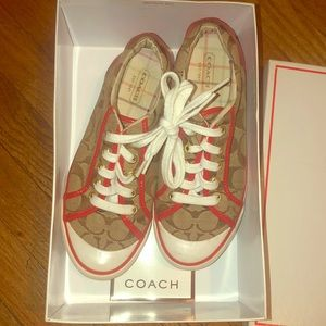 Coach shoes with box, red and tan size 6